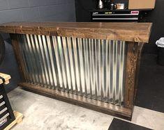 Cinder Metal foo-bar - Rustic Corrugated Metal and Wood U shaped indoor or covered patio Corigated Metal, Metal Bar, Wood And Metal, Corrugated Metal Walls, Bar Patio, Outdoor Patio Bar, Outdoor Ideas, Backyard Ideas, Outdoor Living