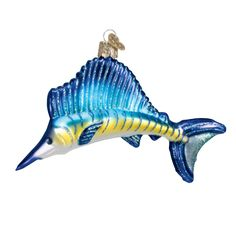 "Sailfish+Christmas+Ornament+12226+Old+World+Christmas+This+ornament+measures+approximately+5""+Hang+Tag:+Gone+Fishing+are+an+angler+s+favorite+words.+The+beautiful+Sailfish+is+the+ sailfish, fish ornament, christmas ornament, summer vacation ornament"