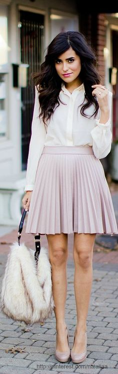 Spring / summer - business casual- work outfit - sttreet & chic look - pastel flare skirt + pastel heels + cream shirt