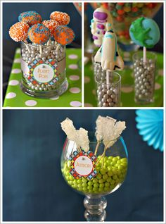momma loves planet pops... and crystal candy idea. 5   4   3   2   1, blast off. -other cutes on blog, too much sugar.