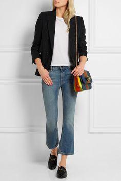 Louboutin Bag +  Adam Lippes T-shirt + Maison Margiela Blazer + Alexander Wang Jeans