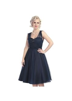 Absolutely gorgeous.... Collectif Sophie Occasion Swing Dress Navy