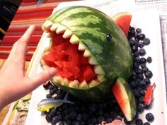 Rawwr! Watermelon Orca Whale with blueberries as the water!