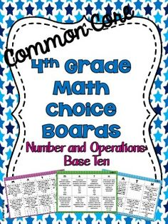 4th Grade Common Core Math Choice Boards {Number and Opera