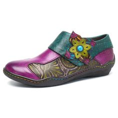 Hot-sale SOCOFY New Printing Splicing Plant Pattern Hook Loop Flat Leather Shoes - NewChic Mobile