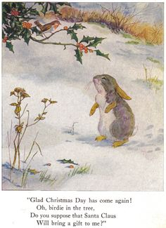"""via Anne Anderson, """"The Busy Bunny Book"""" illustration, 1916 (by Anne Anderson and Alan Wright) Christmas Bunny, Christmas Scenes, Christmas Art, Winter Christmas, Christmas Decorations, Xmas, Christmas Mantles, Christmas Villages, Victorian Christmas"""