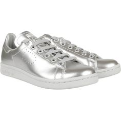 Adidas By Raf Simons Sneakers ($165) ❤ liked on Polyvore featuring shoes, sneakers, silver, genuine leather shoes, laced sneakers, adidas shoes, leather sneakers and rubber sole shoes