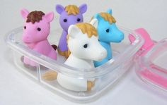 Horse Eraser Set, 4 Piece in Square Case. BCM38449 by PencilThings. $6.75. 4 horses in assorted colors.. Colors may vary in each set from picture shown.. Plastic square case with color trim.. Take-apart erasers and put them back together again and again!  Mix and match colors to create your own unique colors.  The take-apart function only works with erasers with more than one color.  Non-Toxic. IWAKO