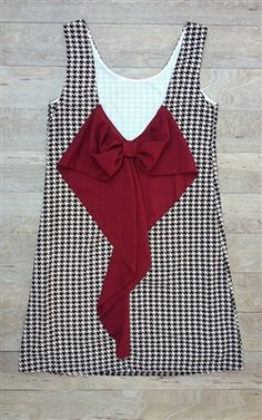 roll tide crimson and white game day dress, houndstooth and crimson, Alabama State #gameday