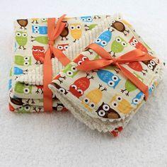 Hoot Hoot Chenille Baby Blanket, Bib, Burp Cloth Set