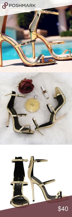 ☀️ Sexy Gold Open Toe Strappy High Heel Pumps Sizes 5.5, 6 and 6.5 availableBrand New  More Sizes Available feel free to ask questions! www.thefairyden.com Shoes Heels
