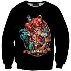 Spring New Cartoon Mermaid Sweatshirt Women Cute Crewneck Anime Hoodies Long Sleeve Mermaid moletom feminino Black Sport Suits