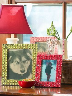 Clear stones make these DIY frames special.