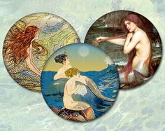 Vintage Mermaids - 2.5 inch circles 63mm - Digital Collage Sheet for making pocket mirror magnets cupcake toppers .... $3.60, via Etsy.