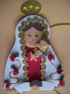 nossa senhora de eva - Pesquisa Google Foam Crafts, Craft Stick Crafts, Paper Crafts, Baptism Party, Christmas Crafts, Christmas Ornaments, Angel Ornaments, Kirchen, Anime Love