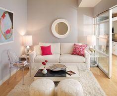 Piccolo soggiorno contemporaneo molto elegante, stile femminile, pulito ed accogliente - idea interior design