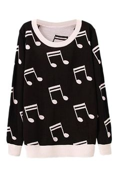 ROMWE | Music Notation Knitted Black Jumper