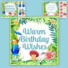 Tropical Summer Warm Wishes by Pauline Black A colourful cheerful and fun birthday card of watercolour banana leaves ferns flowers and cocktails.  Sheet 1 Card Front (with text) and decoupage.  Sheet 2 Insert (with text) and decoupage.