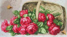 Вышивка «Розы в лукошке» | Скачать схему бесплатно