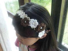 茶色のヘアバンド カチューシャ ハンドメイド シュシュ インテリア 雑貨 Handmade hair accessories ¥300yen 〆04月28日