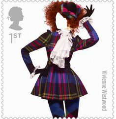 new Royal Mail Stamps honouring the best of British fashion. Picture of Vivienne Westwood stamp.