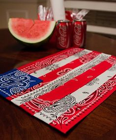 Use inexpensive bandanas and no-sew bond to create these fun placemats without a sewing machine!