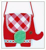 handmade pouch: red elephant    Tolle handgemachte Kindertasche von giddy giddy für Kinder.    Da strahlen kleine Mädchen und ihre Mütter um die Wette!  Die verspielten, handgemachten Accesoires von giddy giddy verzaubern ganz einfach - mit weichem, bunten Stoff und viel Liebe zum Detail.