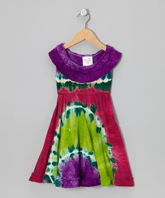 Chit-Chat Fuchsia & Purple Tie-Dye Ruffle Dress - Toddler & Girls by Chit-Chat #zulily #zulilyfinds