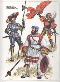 Lansquenets , Landsknechts et autres mercenaires |dans les années 1500. - Bataille de Novare: Selon une pratique déjà connue lors des guerres de Souabe, les Suisses exécutèrent les lansquenets qu'ils purent capturer pendant la bataille. Quoiqu'ils eussent mis en déroute l'armée de siège, les Suisses ne purent poursuivre leurs ennemis, étant dépourvus de cavalerie mais plusieurs contingents marchèrent à travers les Alpes jusqu'à Dijon: ils ne quittèrent le pays qu'après avoir obtenu rançon.