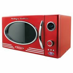 Retro-inspired microwave in red with an oval window and chrome accents.