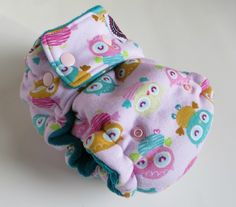One Size Fitted Hybrid Cloth Diaper Owls