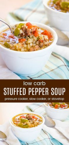 16 of the Best Low Carb Soup Recipes You Need for Keto Comfort Food Low Carb Stuffed Pepper Soup - t Low Carb Soup Recipes, Easy Soup Recipes, Keto Recipes, Dinner Recipes, Free Recipes, Ketogenic Recipes, Ketogenic Diet, Yummy Recipes, Stuffed Pepper Soup Crockpot