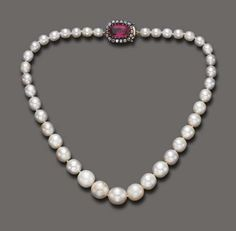 A SINGLE-STRAND NATURAL PEARL AND RUBY NECKLACE Composed of thirty-nine graduated pearls, measuring from approximately 5.70 to 11.50 mm, joined by a cushion-cut ruby clasp, weighing approximately 5.60 carats, within a single-cut diamond frame, mounted in silver and 18k gold, 14¼ ins.