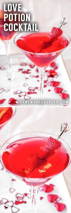 Love Potion Cocktail! This love potion cocktail is the perfect fit for any Valentine's Day celebration. With its vibrant red color and pleasantly sweet cranberry flavor, this drink is sure to win over anyone who tries it! | HomemadeHooplah.com