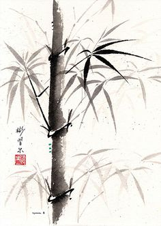 Bamboo Meditation, Spontaneous (Xie Yi) Style Chinese Brush Painting on rice paper by bgsearle.
