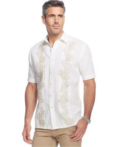 Tasso Elba Island Linen Palm Printed Pintucked Shirt - Casual Button-Down Shirts - Men - Macy's