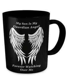 Son Guardian Angel Black Mug