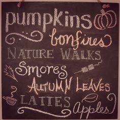 Fall chalkboard ideas and inspiration. Make things easy on yourself and use Wallies' peel-and-stick chalkboard sheets instead of messy chalkboard paint. Sheets come in all sizes and remove easily with no sticky mess. Harvest Moon, Fall Harvest, Harvest Time, Autumn Rose, Autumn Leaves, Samhain, Mabon, Fall Chalkboard, Chalkboard Ideas