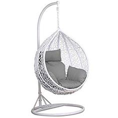 Yaheetech White Rattan Hanging Swing Chair, Stand, Cushion and Cover x x Mixed Dining Chairs, Plastic Dining Chairs, Vintage Dining Chairs, Hanging Chair With Stand, Hanging Swing Chair, Swinging Chair, Egg Swing Chair, Hammock Chair, Diy Chair