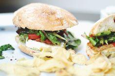 Caprese Chicken Sandwiches on crusty ciabatta with Pesto Mayo