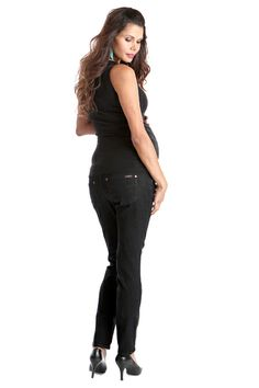 Skinny 5 Pocket Maternity Jeans - Black by Lilac | Maternity Clothes   Available at Due Maternity www.duematernity.com
