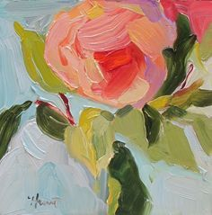 Day 2 of challenge, 'Peach Rose II' by Linda Hunt, contemporary, alla prima…