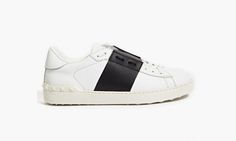 Valentino Color-Block Stripe Leather Sneakers
