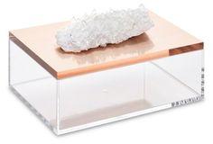 Large Acrylic Box w/ Quartz, Rose Gold