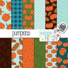 Pumpkin Digital Paper - Fall seamless patterns - pumpkins and pie in orange, green, brown & blue - pumpkin scrapbook paper -…