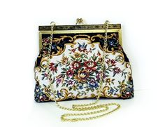 Vintage 1960s Kiiss Lock Tapestry Clutch Floral by KMalinkaVintage, $38.00