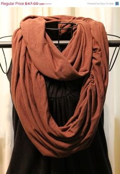 Black Friday Sale Brown Infinity scarf slight by ScarfLadyDesigns, $37.60