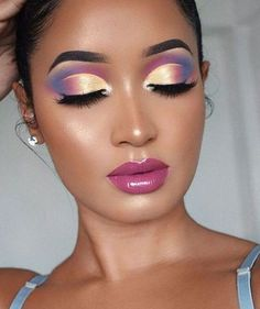 Makeup Eye Looks, Eye Makeup Art, Colorful Eye Makeup, Beautiful Eye Makeup, Eye Makeup Tips, Makeup Hacks, Cute Makeup, Pretty Makeup, Makeup Inspo