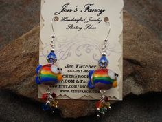 Handcrafted Jewelry Handmade Earrings Rainbow Fish by JensFancy, $35.00