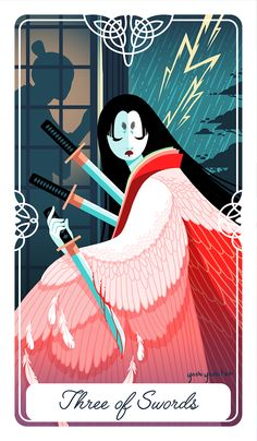 The Three of Swords for my Fairytale Tarot: Myths Legends and Deities From Around the World This is the story of the Crane Wife from Japan A poor man saves a crane, and later marries a beautiful and mysterious woman. She tells him not to come to her...